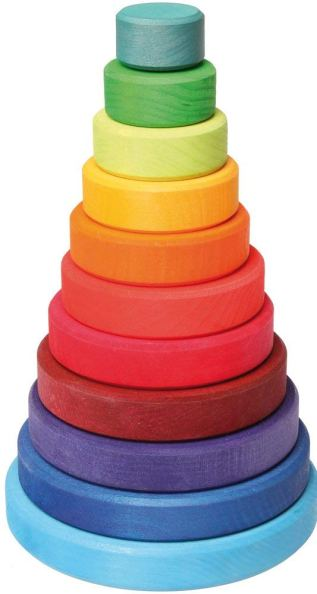 Grimm's Toys- Large Wooden Conical Stacking Tower