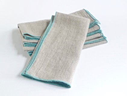 Handmade Linen Napkins with Aqua Edged Rim