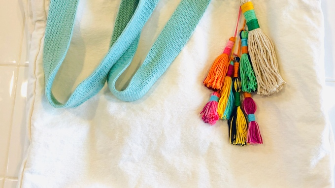 Canvas Beach Bag with Colorful Tassels